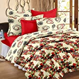 Story@Home Bed in a Beg Floral Print Printed Cotton Satin 4 Piece Combo Set of Double Luxurious Reversible Comforter and Premium Elegant Bedsheets with 2 Pillow Covers, Red