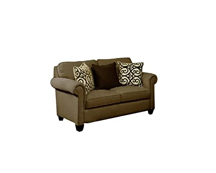 Furniture of America Niobe Chenille Upholstered Love Seat, Cafe