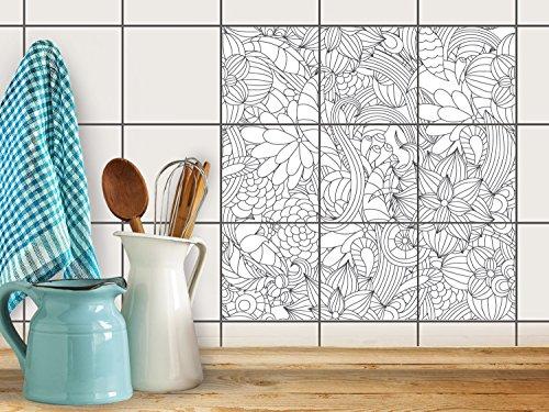 fliesenfolie selbstklebend 10x10 cm 3x3 design flower lines 2 muster ornamente klebefolie. Black Bedroom Furniture Sets. Home Design Ideas