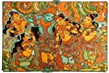 Krishna Playing The Vrindavan-Kerala Mural Art(Unframed Canvas Prints)- 60CM X 40 CM