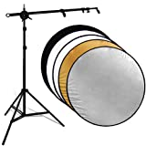 GSV Store 32in 5-in-1 Photo Studio Reflector Stand Disc Holder kit & Collapsable Reflector