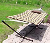 Sunnydaze Desert Stripe Rope Hammock Combo with Stand, Pad and Pillow, 55 Inch Wide x 144 Inch Long