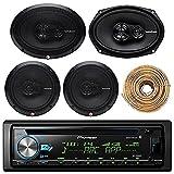 Pioneer DEH-X6900BT Car Bluetooth Radio USB AUX CD Player Receiver - Bundle Combo With 2x Rockford Fosgate 6.5