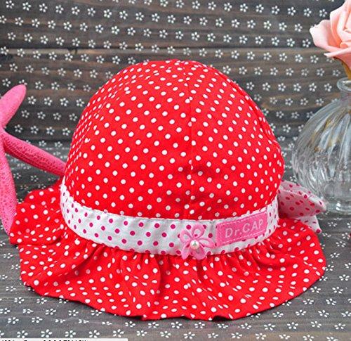 【紫外線からベビーを守る&選べる8色】水玉 可愛い 帽子 つば 付き フリル リボン ドット 花 フラワー フード ベビー キッズ 日焼け 帽子 UV 日よけ (B. 赤)