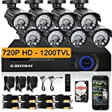 DEFEWAY 8 720P HD 1200TVL Surveillance Camera System 8CH 720P AHD CCTV DVR 1TB Hard Drive - Quick Remote Access Setup Free App - Outdoor Security Cameras with 110ft(33m) IR Night Vision