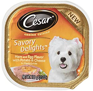 "Cesar Savory Delights Canine Cuisine Ham & Egg Flavor with Bacon and Potato in Meaty Juices 3.5-Ounce (Pack of 24 )"" at Sears.com"