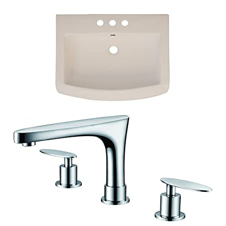 "Jade Bath JB-15800 24"" W x 18"" D Ceramic Top Set with 8"" o.c. CUPC Faucet, Biscuit"