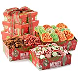 Happy Holidays and Merry Christmas Gourmet Cookies, Roasted Savory Nuts and Old Fashioned Candy Mix Deluxe Gift Tower
