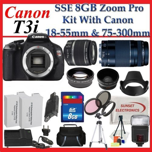 Canon EOS Rebel T3i Digital 18 MP CMOS SLR Cameras (600D) with Canon EF-S 18-55mm f/3.5-5.6 IS Lens & Canon EF 75-300mm f/4-5.6 III Telephoto Zoom Lens + SSE Premium SLR Lens Accessory Package