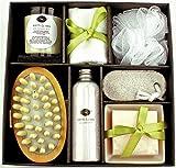 Earth & Sea Spa Essentials Bath Set-Soy Wax Candle, Cotton Bath Cloth, Exfoliating Sponge, Pumice Stone, Wooden Massager Brush, Salts, Bath Soap-Green Gift Set Reviews