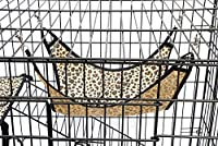 Topeakmart 4-Tier Foldable Cat Home Cages Wire Pet Crate House with Leopard Hammock