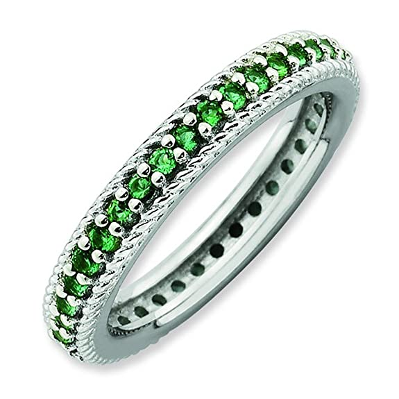 Stackable Expressions Size 10 - Adorned Emerald 3.25mm Eternity Band Sterling Silver Stackable Ring UK Ring Size - T