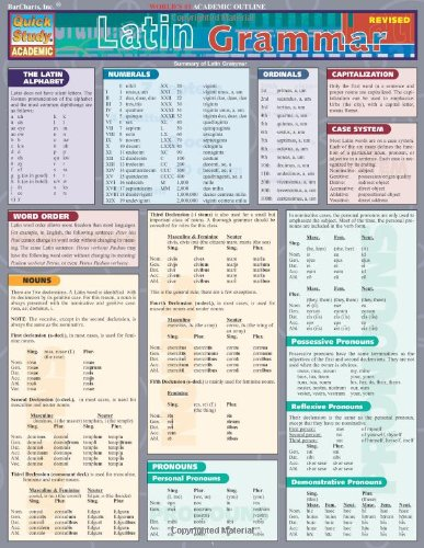 Latin Grammar (Quickstudy: Academic) (Number Cards For Calendar compare prices)