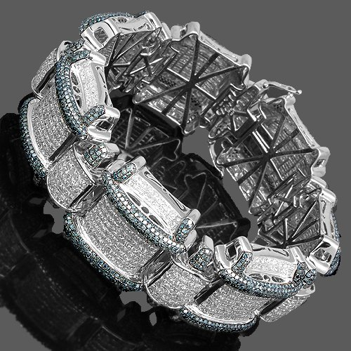 14K White Gold Mens Diamond Bracelet  Blue Diamonds