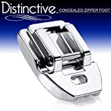 Distinctive Concealed Invisible Zipper Sewing Machine Presser Foot - Fits All Low Shank Snap-On Singer, Brother, Babylock, Euro-Pro, Janome, Kenmore, White, Juki, New Home, Simplicity, Elna and More!
