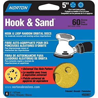 Norton Hook & Sand, Hook and Loop Disc, Paper Backing, Aluminum Oxide, 5 & 8 Holes