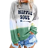 TWGONE Gradient Color Shirt Women Hippie Soul Tshirt Tie Dye Long Sleeve O Neck Letter Printed Casual Tops(Small,Green) (Color: Green, Tamaño: Small)