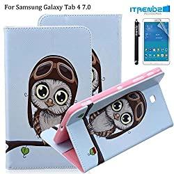 Galaxy Tab 4 7.0 Case, Itrendz [Cute Smart Case] Owl Pilot PU Leather Flip Case [Card Slot Case] [Magnetic] Stand Smart Cover For Samsung Galaxy Tab 4 7.0