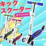 キックスクーター/キックボード 【折りたたみ式 安定の3輪式 カーブ走行 高さ調節可能 軽量 公園 路上】