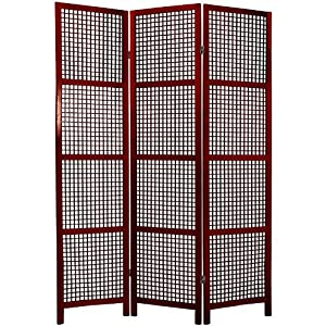 Oriental Furniture Authentic Japanese Style Room Divider, 6-Feet Miyagi Wood Lattice Shoji Screen -Rosewood 3 Panel
