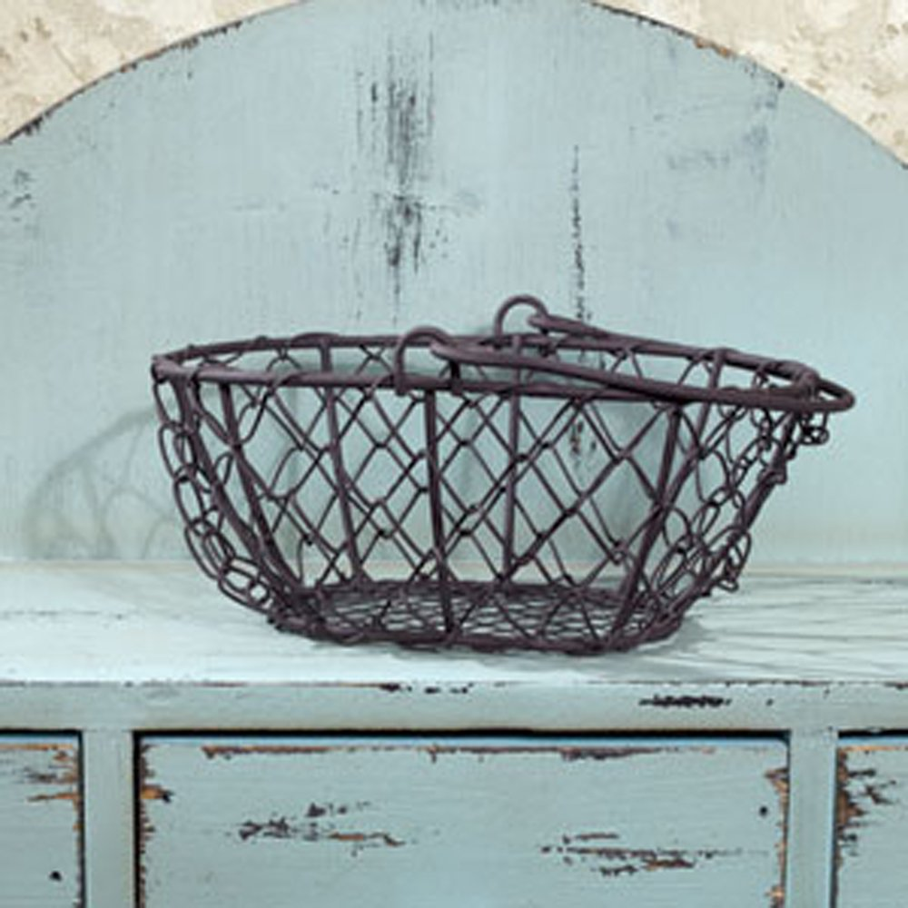 The Country House Collection 6.25'' D Oval Chicken Wire Basket 0