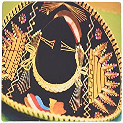 3dRose LLC 8 x 8 x 0.25 Inches Mouse Pad, A Large Mexican Hat Hanging On A Wall At A Restaurant In with Bright, Vibrant Yellow And Black (mp_52074_1)
