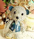 ◆3Dデコ盛り♪♪キラキラ♪ラインストーンケース/iphone5/アイフォン5/専用ケースカバー/Bear/2color (blue)