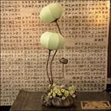 Mulberry Rice Paper Ball Handmade Flower Buds Design Art Shade Green Round Globe Lantern Brown Asian Oriental Decorative Bedside Floral Accent Unusual Uplight Table Floor Lamp