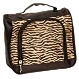 Brown Zebra Satin Feel Travel Cosmetic Make Up Case Bag