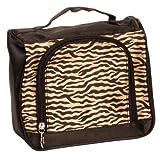 Brown Zebra Satin Feel Travel Cosmetic Make Up Case Bag