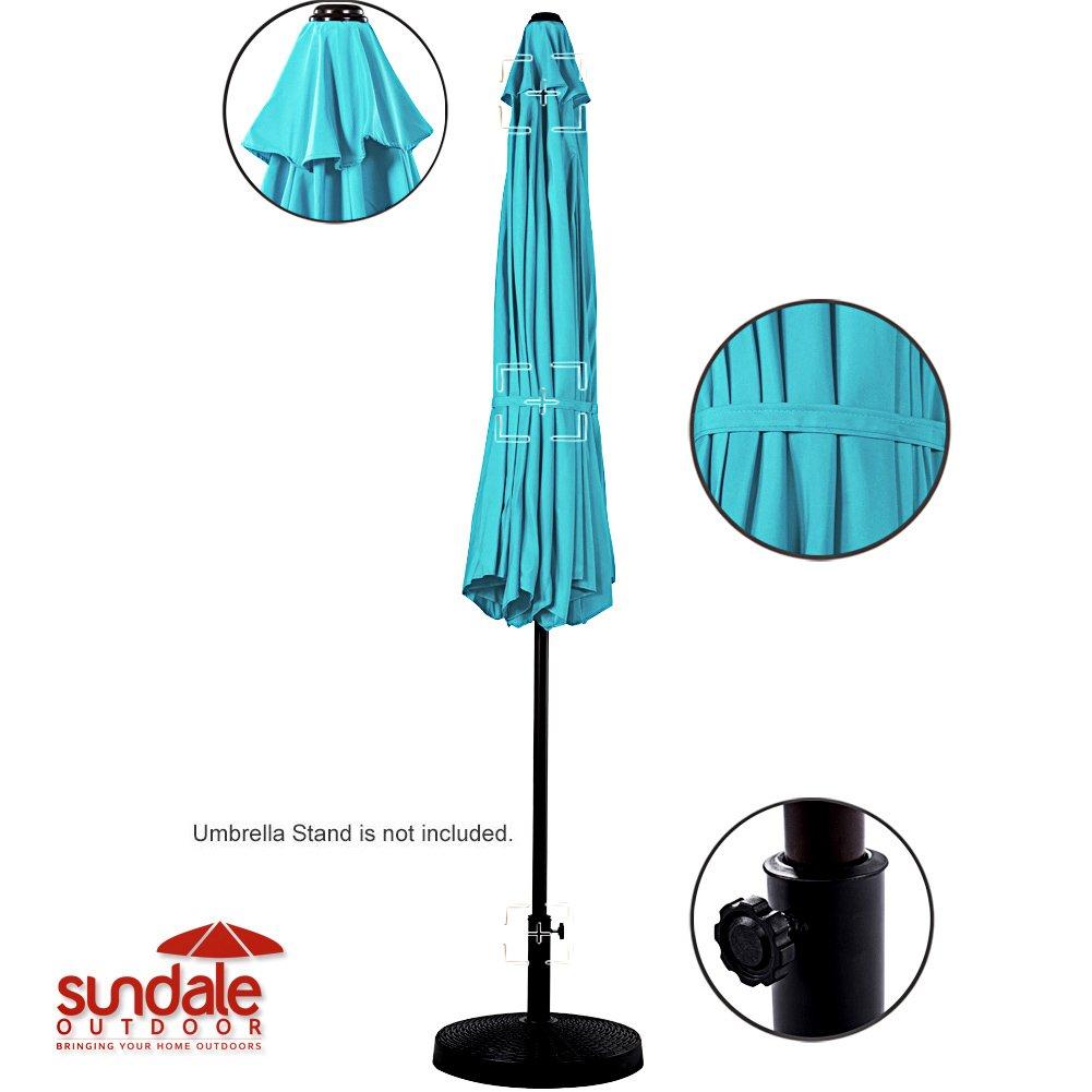 Sundale Outdoor 10 Feet Outdoor Aluminum Patio Umbrella with Auto Tilt and Crank, 8 Alu. Ribs, 100% Polyester (Turquoise)