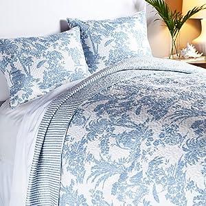 Amazon.com - India Hicks Paradise Toile Cotton 3-piece Quilt Set -