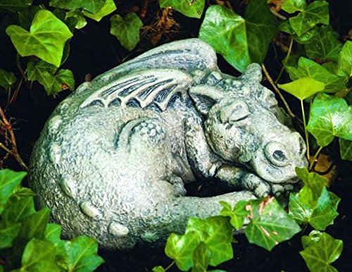 Little Darling Dragon Baby Snooze - Solid Cast Stone Garden Statue - a Great Home or Garden Idea - Durable, Lifelike Sculpture - Fun Exterior and Interior Art