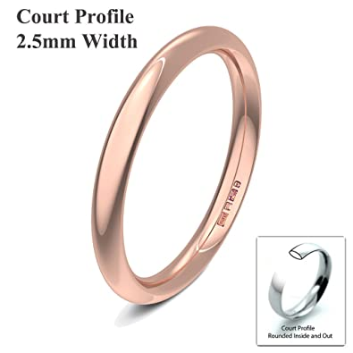 Xzara Jewellery - 9ct Rose 2.5mm Heavy Court Profile Hallmarked Ladies/Gents 2.1 Grams Wedding Ring Band