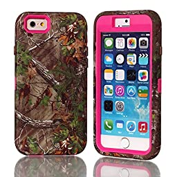 JNTworld IPhone 6/6S Case 4.7 Inch, Hybird Heavy Duty Forest Printed Hard Shell 3 Layer, Rose-carmine
