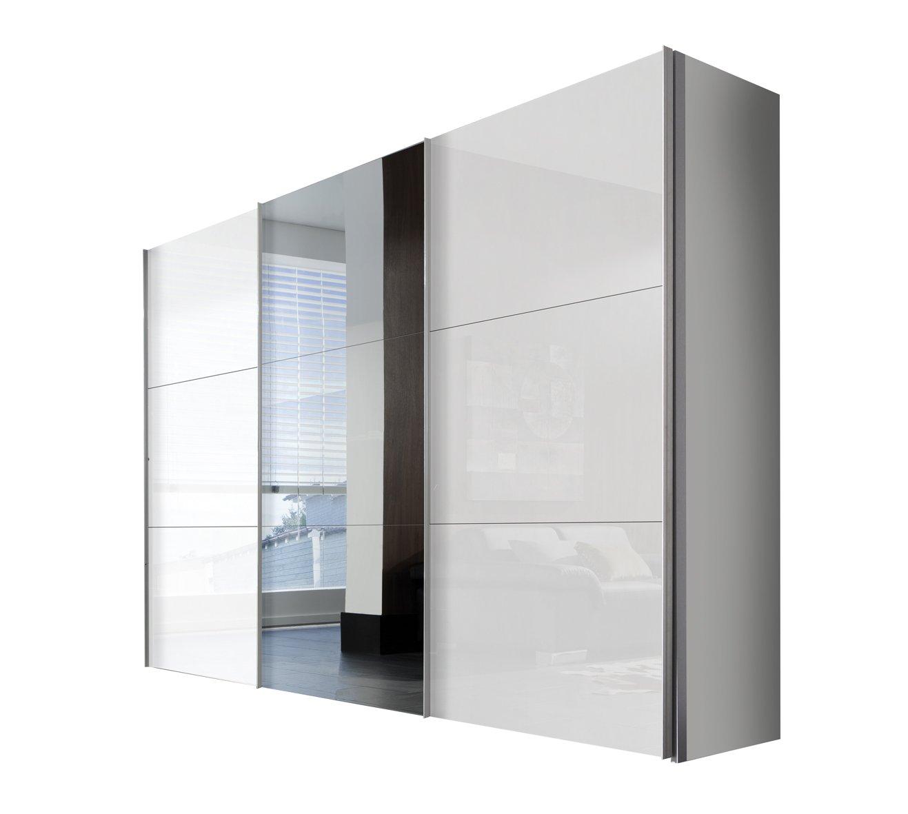 Solutions 46340-203 Schwebetürenschrank 3-türig, Griffleisten Alufarben, Korpus Polarweiß / Front Lack weiß und Spiegel