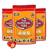 Survival Tabs - 1-Day Food Supply - Emergency Survival Food MRE for Outdoor Activities Camping Biking Climbing Also for Disaster Preparedness such as Earthquake Flood Hurricane Tornado Gluten-Free, Non-GMO The Survival Tabs 25 Years Shelf Life (3 pouches x 4 tablets = 12 Tablets/Strawberry)