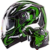 VIPER Modular Dual Visor Motorcycle / Snowmobile Helmet DOT Approved (IV2 Model #953) - Green (XL)