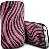 Motorola Gleam Plus + Pull Tab Zebra Case PU Leather Pocket Pouch Cover in HOT PINK (S)