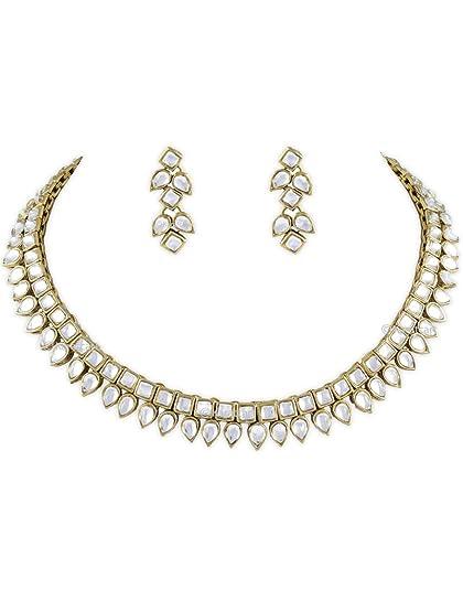 Karatcart Square Drop Kundan Necklace For Women at amazon