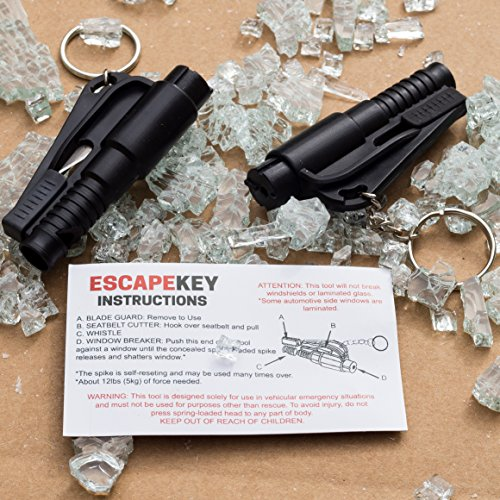 Window and Glass Breaker, Seatbelt Cutter, Car Emergency Keychain - Escape Tool (Pack of 2) (Seatbelt Cutter Key compare prices)