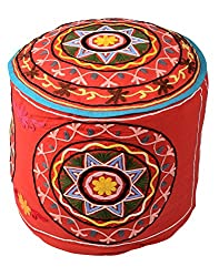 Traditional Ottoman Red Cotton Floral Embroidered Pouf Cover By Rajrang