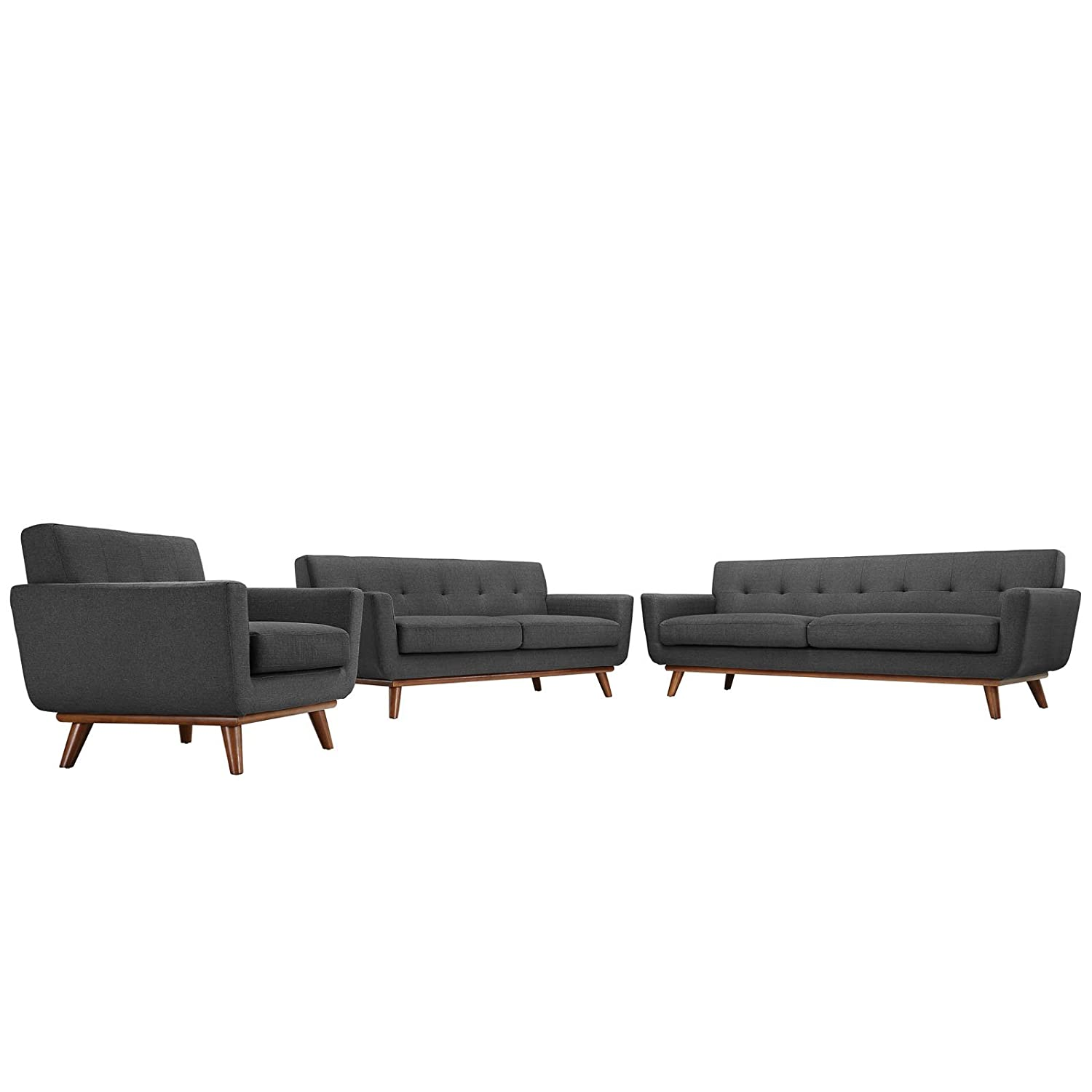 Modern Contemporary Sofa Loveseat and Armchair Set of Three Gray