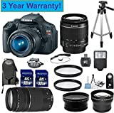 """Canon EOS Rebel T3i 18 MP CMOS Digital SLR Camera 33rd Street Elite Bundle with EF-S 18-55mm f/3.5-5.6 IS Lens & EF 75-300mm f/4-5.6 III Telephoto Zoom Lens With Digital Flash + Backpack + 57"""" Tripod +58mm 2x Professional Lens +High Definition 58mm Wide Angle Lens + 2pcs U.V. Filters with 64GB Memory + Card Reader + Cap Keeper + Handstrap + 3 YEAR WARRANTY"""