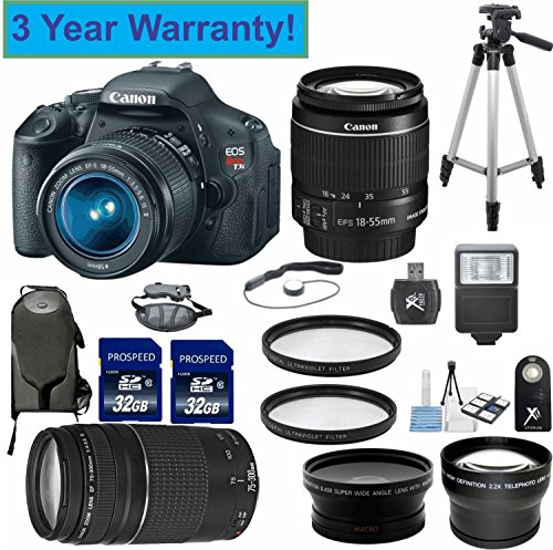 "Canon Eos Rebel T3I 18 Mp Cmos Digital Slr Camera 33Rd Street Elite Bundle With Ef-S 18-55Mm F/3.5-5.6 Is Lens & Ef 75-300Mm F/4-5.6 Iii Telephoto Zoom Lens With Digital Flash + Backpack + 57"" Tripod +58Mm 2X Professional Lens +High Definition 58Mm Wide A"