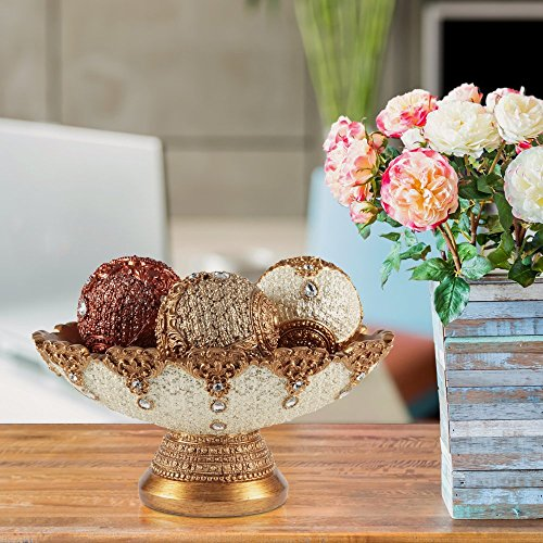 Zeesline Eye Catching Decorative Bowl And Orb Set Includes Three Balls Perfect Centerpiece Fillers Table Top Accent Gold