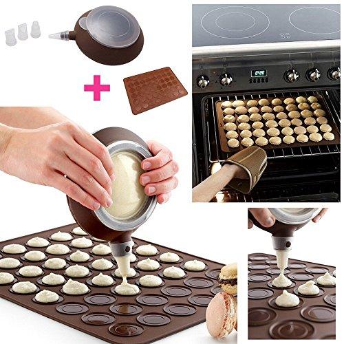 Anokay Macarons set pour seringue de pâtisserie crème Cup cake muffin gaufre + 48 silicone mat retour de fondant de Macarons forme décorative à pâtisserie + 4 oeillets de garniture