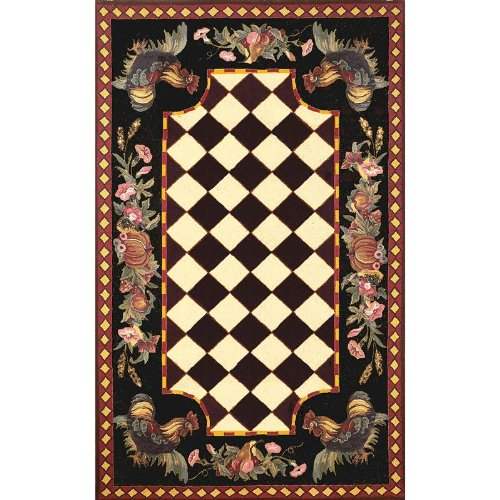 "Liora Manne Tuscany Rug Collection - Rooster Black, Size: 42"" X 66"" Rectangular"