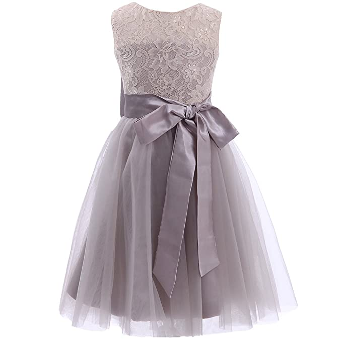 Mic Dresses Elegant Flower Girls Dresses with Long Belt