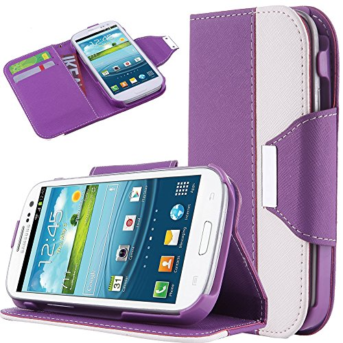 S3 Case, Samsung Galaxy S3 Case Ulak Pu Leather Wallet Pouch Stand Flip Case Cover For Samsung Galaxy S3 I9300 With Card Slots +Screen Protector+Stylus (Purple/White)